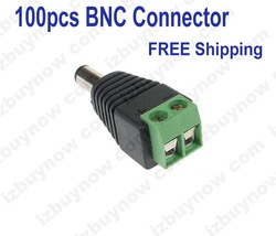 100pcs/lot 2.1mm Male CCTV camera DC Power Jack Adapter Connector BNC Connector for CCTV Camera Free shipping to world(China (Mainland))