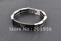 Браслет New Fashion Silicone+316L Titanium steel bracelet, men's matel bracelet, men's accessories, Gift