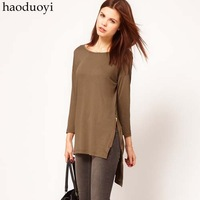 Haoduoyi2012 placketing lantern sleeve slim waist slim solid color one/piece dress 3 Size : XS XXL