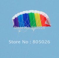 free shipping high quality dual line1.4m parafoil kite with control bar line power braid sailing kitesurf rainbow sports beach
