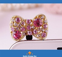 1PC Bling Crystal Pink Bow Earphone Charm Cap Anti Dust Plug for iPhone 5 & Samsung S3 & Galaxy Note 2 N7100