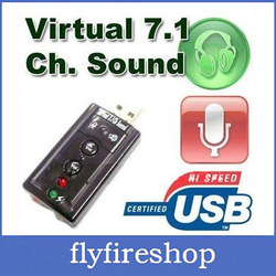 10pcs/lot Free shipping USB 2.0 Mic Speaker 7.1 Audio Sound Card ADAPTER Cheap Virtual 7.1 Sound Card(China (Mainland))