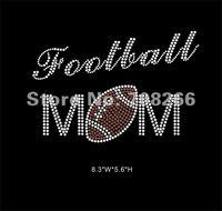 Free shipping 40pcs/lot rhinestone iron on transfer Football Mom hot fix bling sports