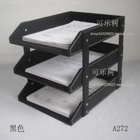 Black leather file holder data rack document tray desktop storage rack commercial supplies a272