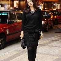 Autumn and winter new arrival women's luxury new feeling ol one-piece dress long-sleeve black autumn one-piece dress