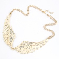 Fashion rhinestone gold plated angel wing charm necklace   choker necklace NL-62