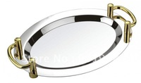 16inch stainless steel oval service plate-service tray-flat plate-with handle