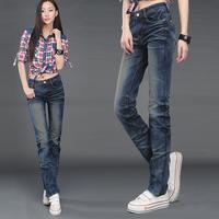2012 slim straight jeans female straight pants women's trousers denim trousers
