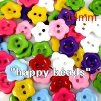 Free shipping 200 Pcs Random Mixed Flower 2 Holes Resin Sewing Buttons 14mm Dia. Knopf Bouton(W01379 X 1)