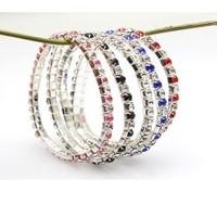 Multi-colored full rhinestone single row bracelet elastic bracelet accessories Imitation diamond bracelet 081 accessories