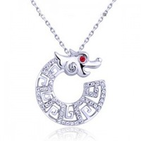 Free shipping wholesale mixed batch of Chinese elements dragonkind crystal pendant necklace girl short necklace 1094