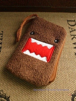 20PCS Plush Japan DOMO KUN Cell Mobile Phone BAG Pouch Case; Wrist Coin Purse & Wallet BAG Pouch Case Pack; Size 13*8CM