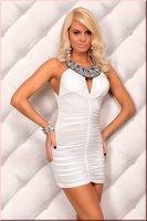 новые сексуальные улов моды один рукав мини-платье с кружевной черный/белый/красный lc2384