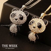 2015 Limited Hot Sale Trendy Women Pendant Necklaces Collares Panda Necklace Crystal Sweater Chain Golden And