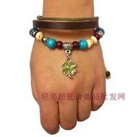 Lucky four leaf clover wood bead genuine leather bracelet beaded bracelet handmade knitted bracelet summer