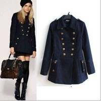 Free shipping 2012 hot lapel collar cap double breasted woolen overcoat, formal women's thick outerwear ,women woolen trench