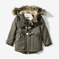 Children's clothing thickening plush liner male child horn button jacket wadded jacket trench