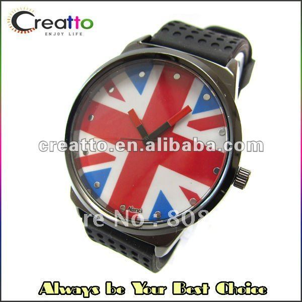 27pcs/lot Free Shipping 2012 Luxury Unisex UK Flag Dial Crystal Watch with Silicone Belt(China (Mainland))