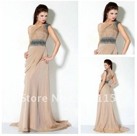 New Arrive Beaded One Shoulder Straight Custom Made Chiffon Fashion Prom Dresses 2013