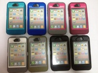 DHL Free shipping 2 in1 PC Silicon case high quality hard case for iphone 4 4s 50 pcs/lot