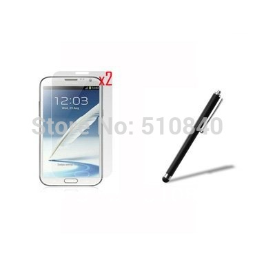 2x Clear LCD Screen Protector Film Guards + 1x Stylus Touch Pen For Samsung Galaxy Note2 Note 2 N7100 N7108 +Free shipping(China (Mainland))