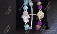 Free Shipping Jewelery Bracelet Beaded Set Silver Plated Hamsa Hand Bracelet,Cross And Crystal Charm Bracelet  BS005