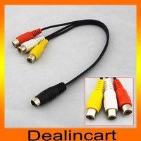 4 Pin S-Video TV To 3 RCA female AV Adapter Laptop Cable TV AV Cords