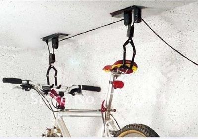free shipping/Ceiling Mounted Hanging Bicycle Bike Lift - Garage Storage Pulley Rack(China (Mainland))