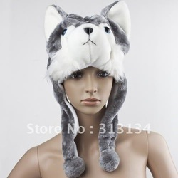 Soft Cartoon handmade Animal style Wolf Cute Fluffy Plush kids Hat Cap(China (Mainland))