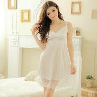 Beautiful princess temptation sexy sleepwear women's lace faux silk lounge spaghetti strap nightgown