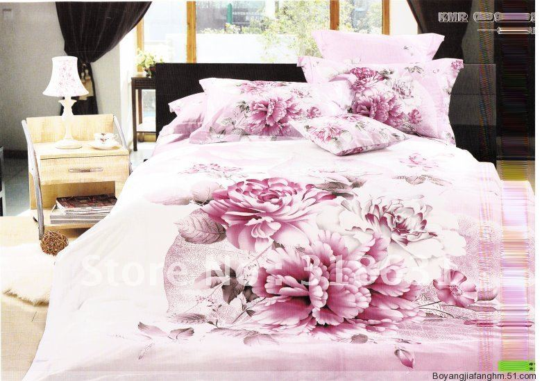 hot selling lovely pink comforter bedding sets for girls 5pcs queen or full floral pattern duvet cover bed in the bag(China (Mainland))