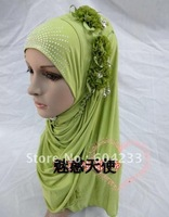 TZ-New Design wholesale fashion muslim scarf 2012 three flowers islamic muslim scarf women hijabs,free shipping,assorted colors