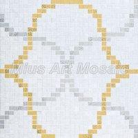 [Mius Art Mosaic] Gold & Silver mirror & pure white color art Glass mosaic tile  puzzle for backsplash KL118