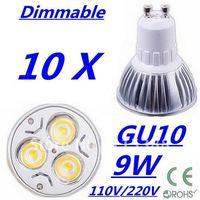 10pcs Dimmable High power GU10 3x3W 9W 110V/220V led Light Lamp Downlight led bulb spotlight Free shipping UPS FEDEX and DHL