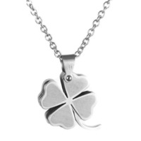 Double layer silver four leaf clover pendant male pendant male accessories titanium accessories