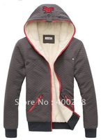 Free shipping Mens Hoodies Sweatshirts coat and jacket Diamond plaid cardigan warm fur velvet zip outerwear 4color M L XL J65
