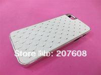 Luxury White Bling Diamonds Hard Silver Chrome Case Cover +film for iphone 5 5G 250pcs/lot