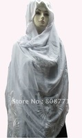 Free shipping wholesale cheapest price fashion design muslim scarf and shawls in white color