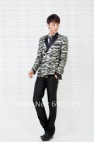 Free Shipping ! H115-lattice  Korean-Style Classic Look Lattice College  Casual  Suits (Jacket and Pants)