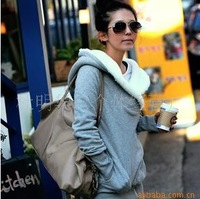 2012 Korea Women Hoodies Coat Warm Zip Up Outerwear Sweatshirts 2 Colors Black Gray
