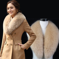 Winter new arrival woolen outerwear slim fox fur double breasted woolen overcoat female