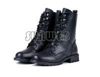 Fashion Women's PU Leather Cool Black PUNK Military Army Knight Lace-up Short Boots Shoes free shipping 7936