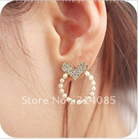 <Attention!Free shipping for Min.order $15,can mix order> VIVI murua Heart round pearl with created earrings E232