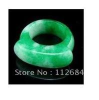 Malay jade ring thick wide green JieZi cloud pattern