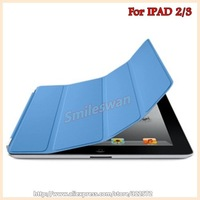 For New ipad 3 Leather Case Magnetic Smart Cover Case for ipad 2,free shipping