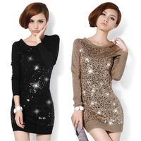 Sweater women new 2014 spring/winter Kroean paillette long slim knitted print pullover women mini dress sweaters 3150