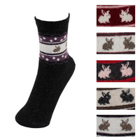 Free Shipping! 5pairs=10pcs Autumn and winter wool rabbit socks rabbit style sock 028