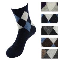 Free Shipping! 5pairs=10pcs male dimond plaid wool socks male british style thermal socks angora sock  017