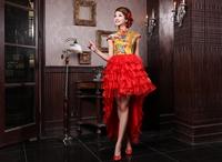 Free Shipping 2012 cheongsam fashion low-high married evening dress evening dress