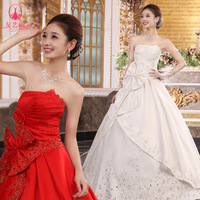 Free Shipping 2012 new arrival cutout satin quality strap sweet princess tube top qi in wedding formal dress